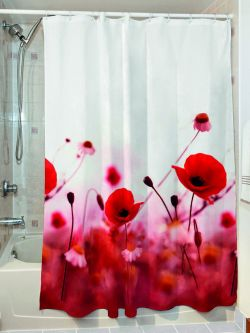 Κουρτίνα μπάνιου Poppies Art 3067 190x180 Κόκκινο