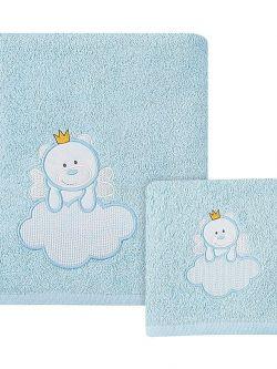 Σετ πετσέτες Beyond imagination Art 5106  Σετ 2τμχ  Λευκό,Γαλάζιο