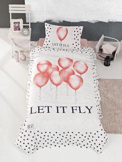 Σετ κουβερλί μονό Fly Art 6110  160x240  Εκρού,Ροζ