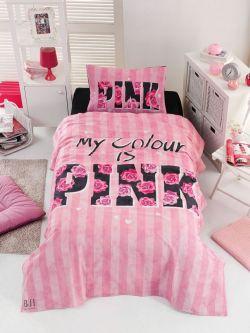 Σετ κουβερλί μονό Pink Art 6113  160x240  Ροζ