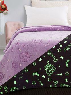 Κουβέρτα μονή φωσφορίζουσα Art 6146 160x220 Λιλά
