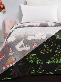 Κουβέρτα μονή φωσφορίζουσα Art 6147 160x220 Γκρι
