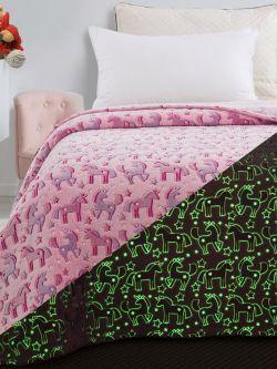 Κουβέρτα μονή φωσφορίζουσα Art 6148 160x220 Ροζ