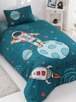 Σετ κουβερλί μονό Space Art 6167  160x240 Μπλε,Πράσινο